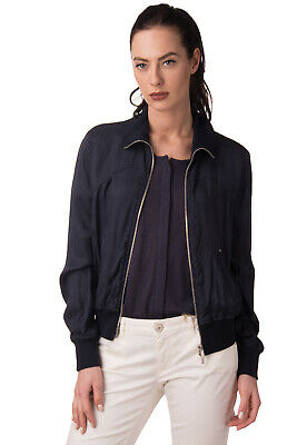 ARMANI JEANS Bomber Style Jacket Size 44 / L Unlined Full Zip Made in Italy
