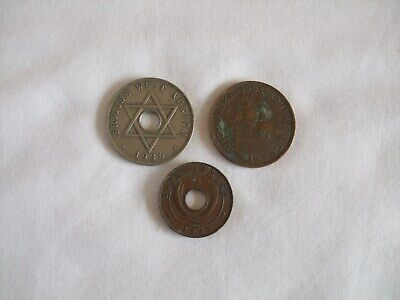 British West Africa 1 Penny Coin, East Africa 5 Cents Coin & South Africa 1d Coi