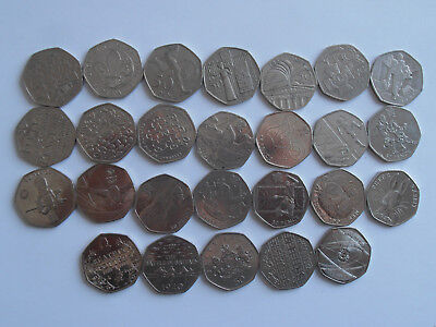 Various Rare and Commemorative UK 50p Coins - Olympic, Beatrix Potter etc.
