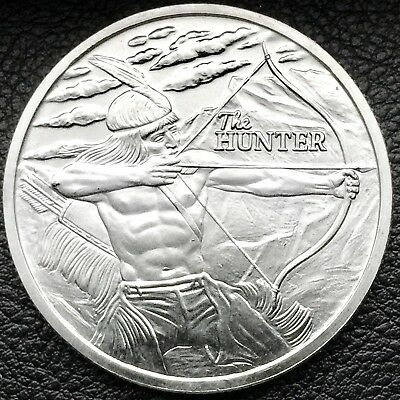 2017 The Hunter Indian / American Bison 1 oz .999 Fine Silver Art Round Coin