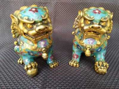 A Pair Exquisite Chinese Old Cloisonne Copper Statue - Lion Foo Dog statue