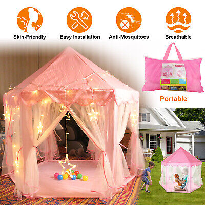 Pink Princess Castle Cute Playhouse Children Kids For Play Tent Outdoor Toys
