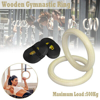 Wooden Gymnastic Olympic Rings Crossfit Gym Ring Strength Training Exercise Pair