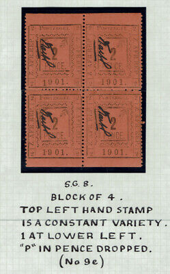 """Transvaal (Pietersburg) 1901 Block of 4 with Constant Variety (No 9e) """"P"""" in pen"""