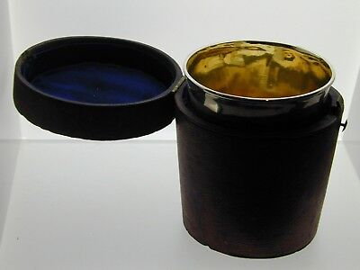 Antique Sterling Silver drinking Cup with Leather Case Gilt Lined 1802 Georgian