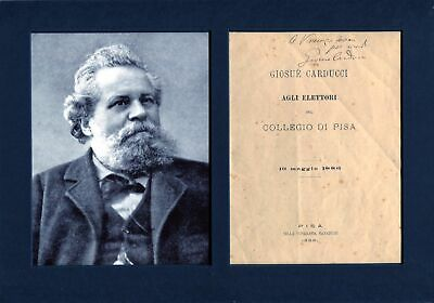 Giosue Carducci NOBEL PRIZE IN LITERATURE autographs, signed booklet mounted