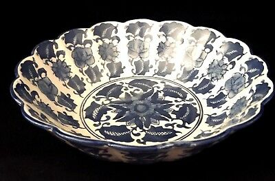 "Vintage Hand Painted Blue and White 10"" Oriental Rose Scalloped Serving Bowl"
