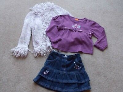 Girls Cherokee Denim Skirt/ Flower t-shirt/ Chunky Cardigan Outfit Age 2-3yrs