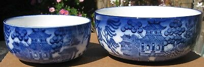 2 x Doulton Burslem Willow blue & white antique fruit or desert bowls about 1920