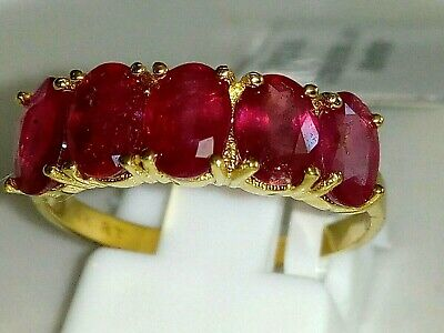 Genuine African Ruby 3.54Ct 14K Yellow Gold Ring Size 7 (O)