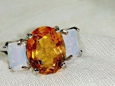 Genuine Natural Citrine & Created African Opal 925 Sterling Silver Ring Size 7