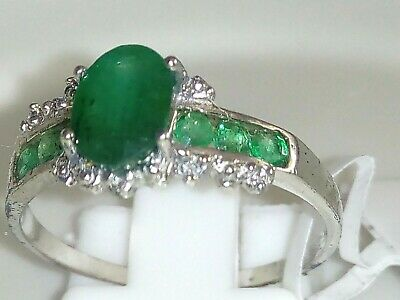 Genuine Natural Emerald Ring 10K 10Ct White Gold Ring Size 7 (O)