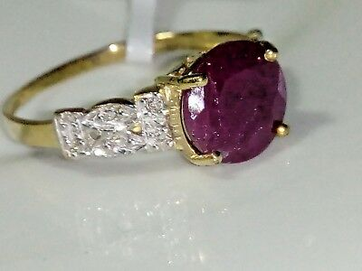 Genuine Natural Ruby & genuine Diamonds 10k 10ct Yellow Gold Ring Size 7 (O)