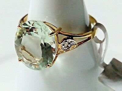 10K 10Ct Yellow Gold Genuine Natural Green Amethyst & Diamonds Ring Size 7 (O)