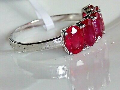 14k 14ct White Gold Genuine 3.56ct Natural African Ruby Ring Size 7 (O)
