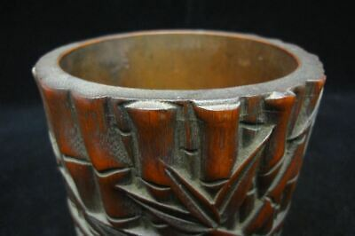 Excellent Old Chinese Hand Carving Bamboo Brush Pot Pen Container