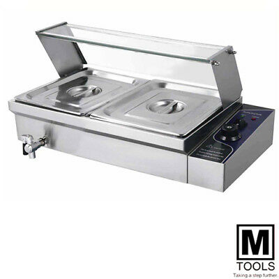 S/steel Hot Food Warmer Bain Marie 2 X 1/2 Gn Trays+Poly Cover Glass Display Wty