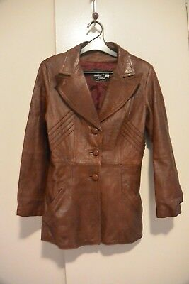 Made in Mexico Genuine JM Leather Vintage Retro Fitted Jacket Unisex Men's