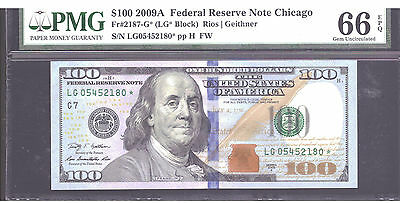 Fr#2187-G* $100 2009A Federal Reserve Star Note  Chicago  Pmg 66Epq Gem Unc