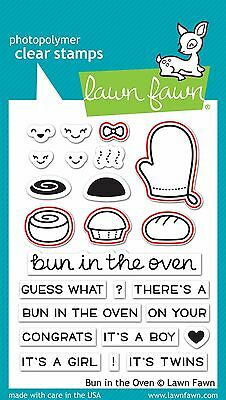 LAWN FAWN CLEAR acrylic stamps & matching dies- BUN IN THE OVEN, baby