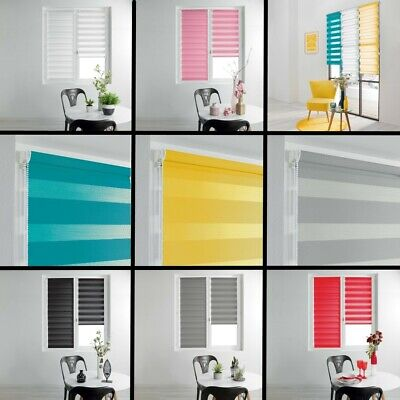 Day and Night Ready Made Plain Roller Window Blinds 45/60cm Widths - 8 Colours