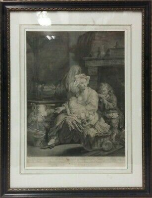 'Mother and Children' a Beautiful Original 18th Century Engraving Circa 1750