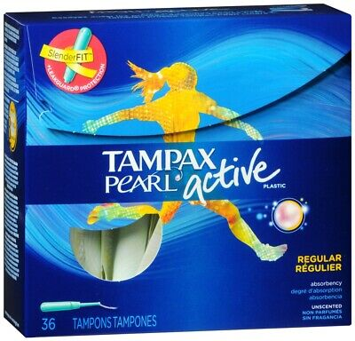 Tampax Pearl Active Tampons Regular Unscented, 36 Count
