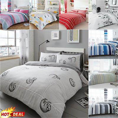 SLOTH GREY DUVET COVER Quilt Easy Care Bedding Set Double King Size Polyester