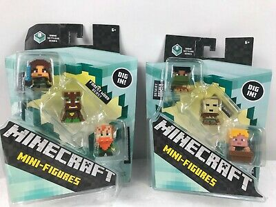 Minecraft Biome Settlers 8 Series 3 pack Figures Desert -Forest 3 pack.Lot of 2.