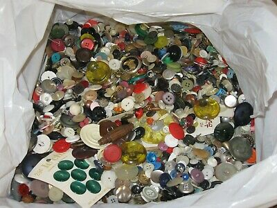 Huge 15 Lb Lot Of Vintage Buttons Estate Sale Hoard- Collectible- Craft