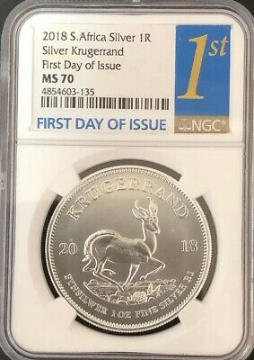 2018 South Africa 1 oz Silver Krugerrand NGC MS 70 First Day Of Issue
