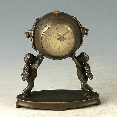 Exquisite Chinese Old Copper Handwork Carved Angel Mechanical Clock Statue