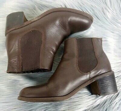 VINTAGE 90's Leather Block HEEL Boots Womens 8/39 Brown Ankle Casual Party VGUC