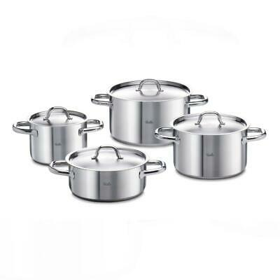 Fissler Family Line Pot Set, Frying and Cooking Pot, Stainless Steel, Lid, 4PCs