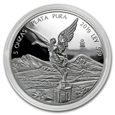 2019 Mexico Libertad 5 oz .999 Silver Round PR-SALE Bullion Capsuled Proof Coin