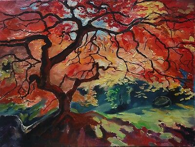 Autumn tree with red leaves (2017) - Oil picture -Original artwork - 37x28cm