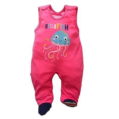 Baby Girls Sleeveless Playsuit Babygrow 100% Cotton LOOK ON THE BACK! 3-6 Months