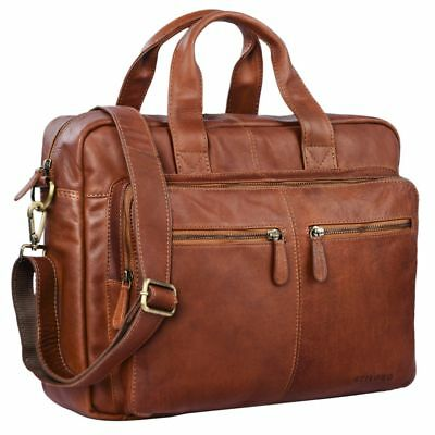 """STILORD """"Leandro"""" Leather Bag Laptop Men Vintage 15.6 Inches for Trolley"""