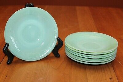 Eight Vintage Fire King Oven Ware Made in U.S.A. JadeIte Jane Ray Saucers EUC