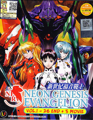 DVD Anime Neon Genesis Evangelion  Vol 1 to 26 End + 5 Movie Japan & English Dub