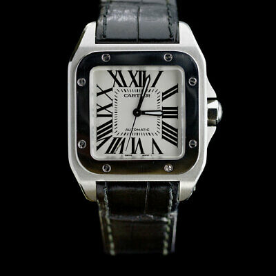 1dd80f6bac5 Cartier Santos 100 Stainless Steel Midsize Watch with Black Leather Strap