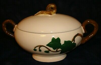 """METLOX POPPYTRAIL """"IVY"""" SUGARBOWL with LID - HAND PAINTED - MADE IN CALIFORNIA"""