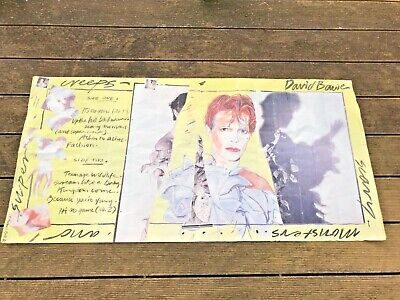 """Ultra Rare David Bowie Genuine Rca """"scary Monsters"""" Yellow Promo Poster Display"""