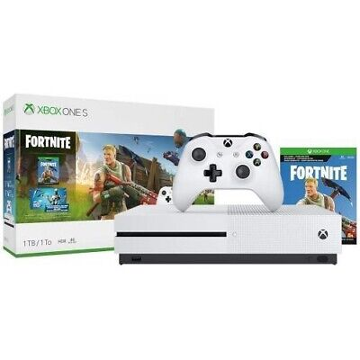Xbox One S (NIB) 1TB Fortnite Bundle - Full game download Battle Royale, White