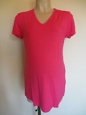 Giggles Bright Pink Maternity Longer Length Tunic T-Shirt Top 12 14 16 18 20 New