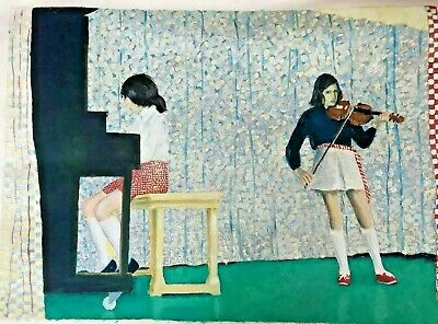 Two Girls Piano And Violin Music Recital Painting 30 X 22