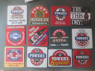 12 different POWERS BREWERY,Queensland Issue BEER Coasters NO MORE xx