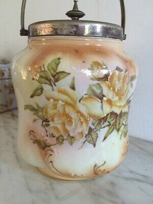 Antique 18th Rare Old Silver Biscuit & Cookies Jar Hand Painted Cabbage Roses