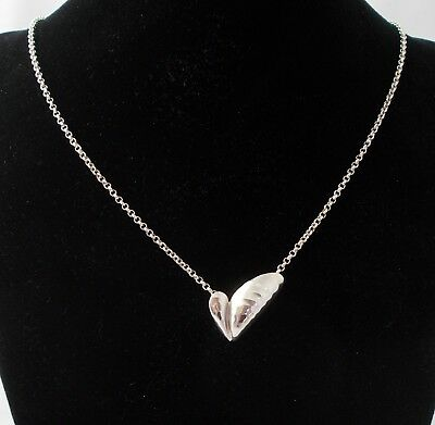 Georg Jensen Sterling Silver Shell Artist Heart Pendant - Boxed
