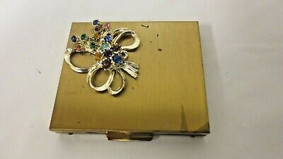 Vintage Rhinestone Goldtone Mirrored Powder Compact-Vanity Dresser Accessory